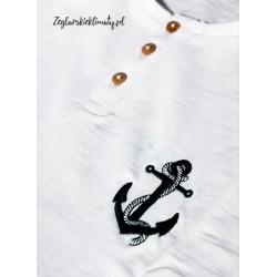 Koszulka męska biała - drewniane guziczki i haft kotwiczka