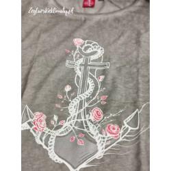 Koszulka damska vintage KOTWICA Z RÓŻAMI (sz)