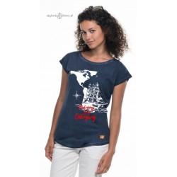 Koszulka damska vintage granatowa Podróżuj Śnij Odkrywaj (3D)