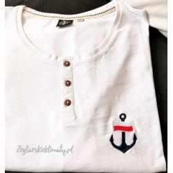 Koszulka męska biała z guzikami - haft kotwica i flaga