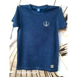 Koszulka męska vintage granatowa - haft kotwiczka